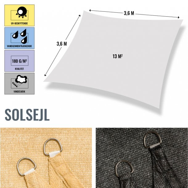 Firkantet solsejl, 3,6x3,6 mtr., vandgennemtrængende / vindstærk