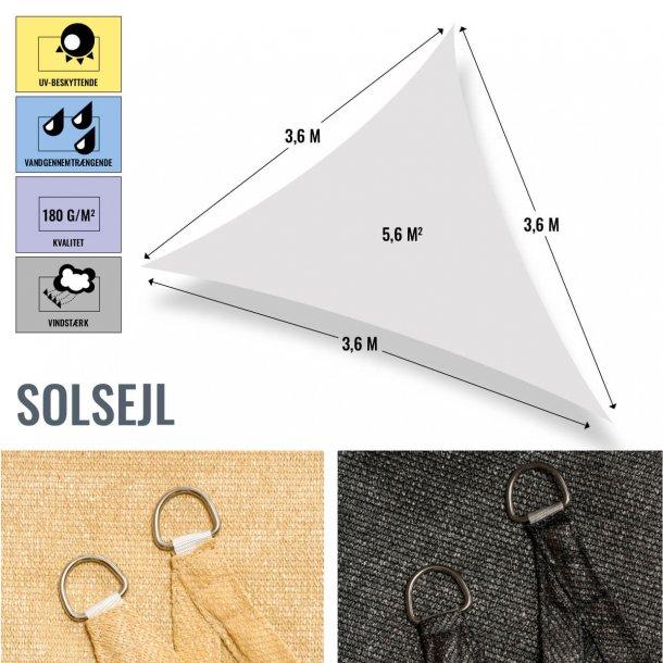 Trekantet solsejl, 3,6x3,6x3,6 mtr., vandgennemtrængende / vindstærk